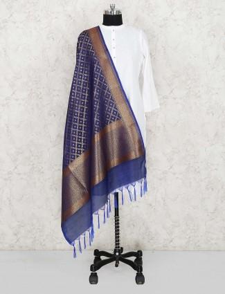 Silk dupatta in blue color