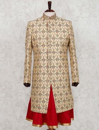 Silk fabric beige wedding sherwani