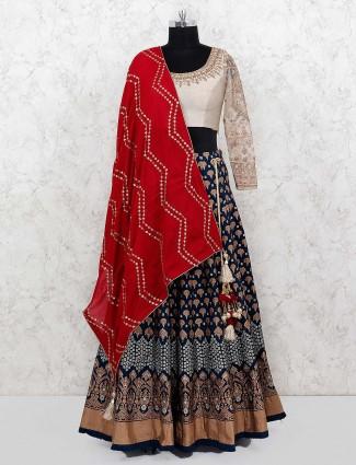 Silk fabric blue color wedding wear lehenga choli