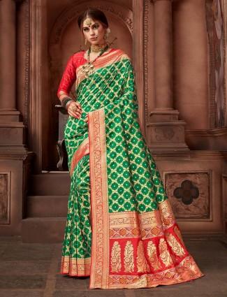 Silk fabric green color saree