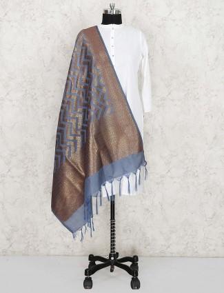 Silk fabric grey hue lovely dupatta