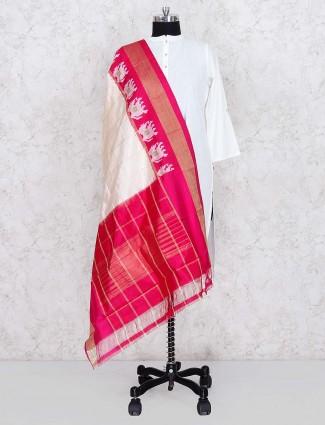 Silk fabric lovely cream hue silk dupatta