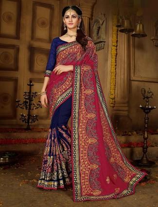 Silk fabric navy blue and maroon half and half wedding saree