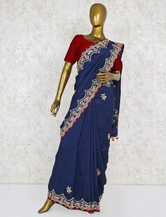 Silk fabric navy color lovely saree