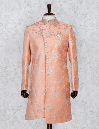 Silk fabric peach color wedding indo western