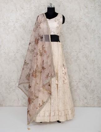 Silk fabric wedding function cream lehenga choli