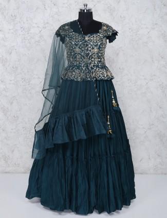 Silk fabric wedding function rama green lehenga choli