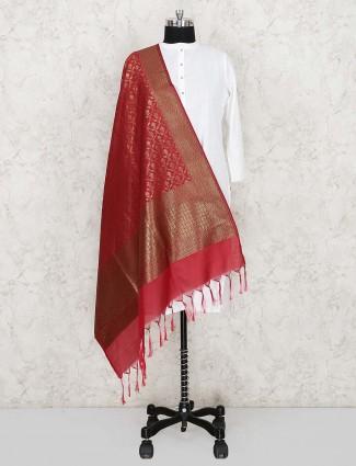 Silk fabric women dupatta in red color