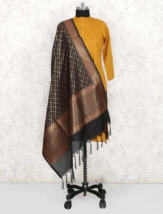 Silk fabric wonderful black dupatta