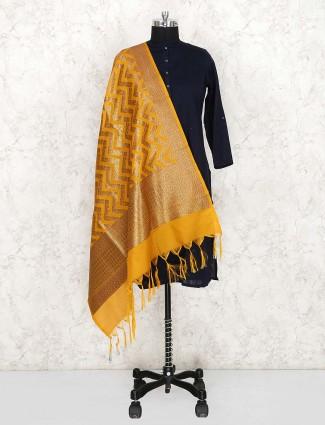 Silk fabric yellow pretty dupatta
