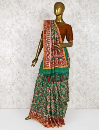 Silk green color Silk green color wedding wear saree