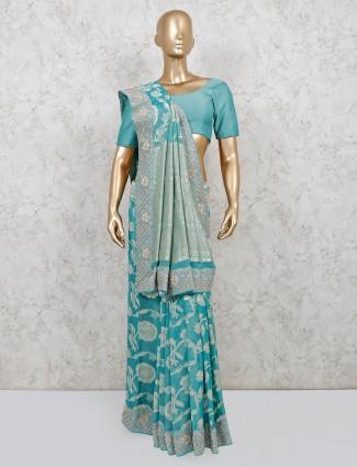 Silk green reception occasion saree