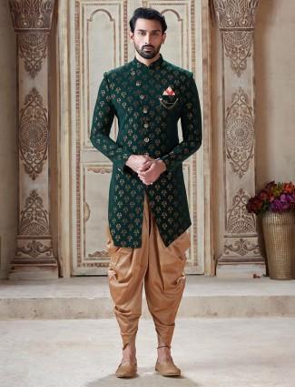 Silk green zari weaving indo western