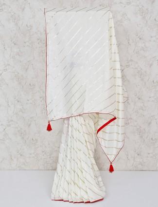 Silk leheriya saree in white