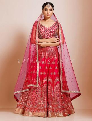 Silk magenta bridal wear premium lehenga choli