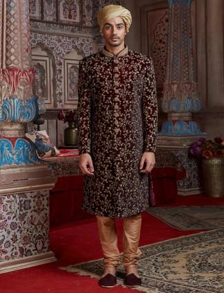 Silk maroon groom wear sherwani set
