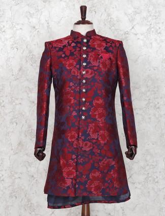 Silk maroon hue party occasion indo western