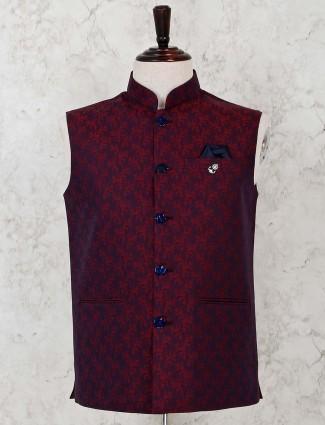 Silk maroon mens waistcoat