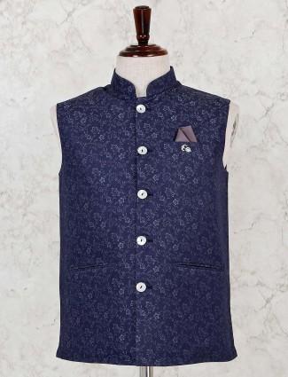 Silk navy sleeveless design waistcoat