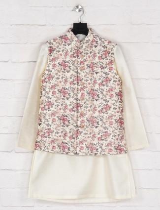 Silk off white waistcoat set for boys
