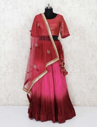 Silk party magenta gota sequins work lehenga choli