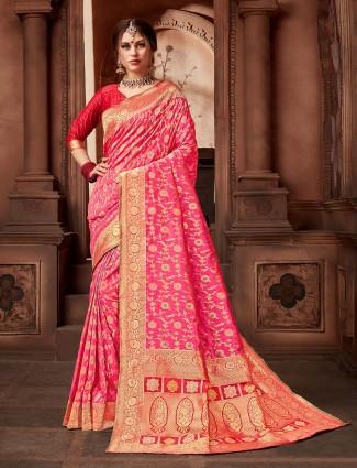 Silk pink color wedding wear saree