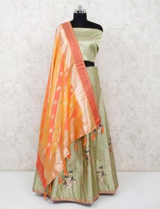 Silk pista green semi stitched lehenga choli