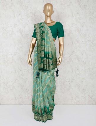 Silk pista green wedding wear saree
