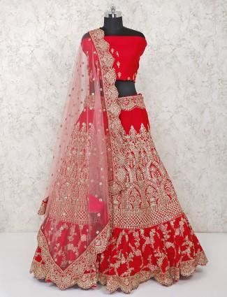 Silk red hue semi stitched lehenga choli for bridal wear