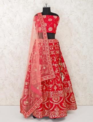 Silk red semi stitched lehenga choli for wedding