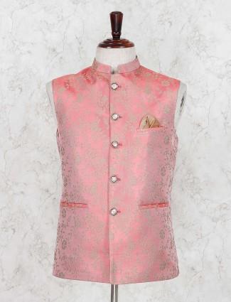Silk red wedding function waistcoat