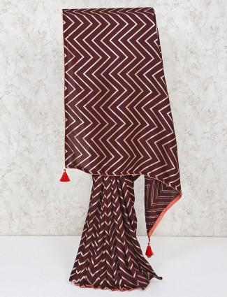 Silk saree in party wear brown