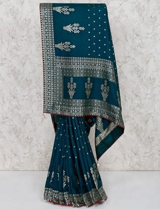 Silk wedding saree in rama green