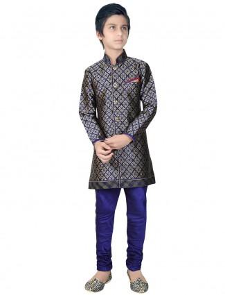 Silk wedding wear indo western in blue color