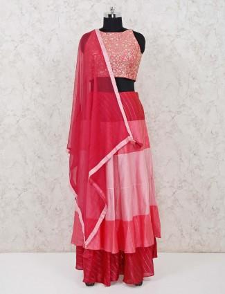 Silk wedding wear lehenga choli in pink