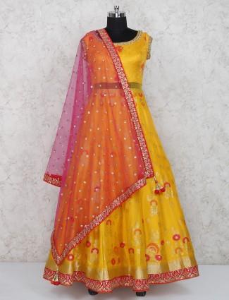 Silk wedding wear yellow anarkali salwar suit
