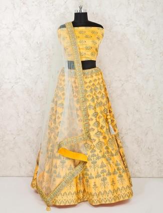 Silk yellow semi stitched haldi function lehenga choli