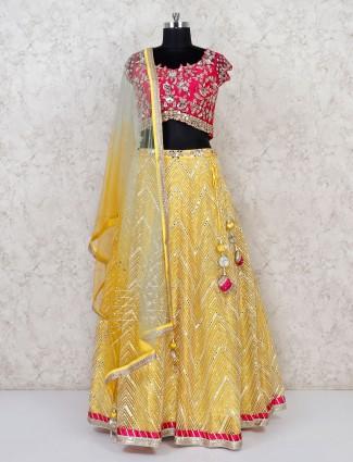 Silk yellow wedding function lehenga choli