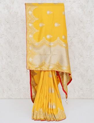 Silk yellow wedding saree