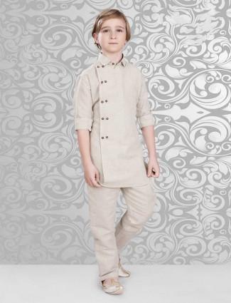 Simple beige cotton pathani suit