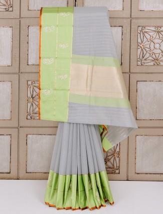 Simple grey cotton silk saree