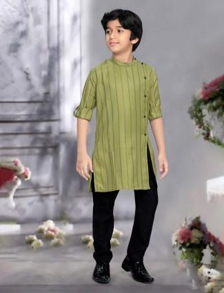 Simple olive green hue stripe cotton kurta suit