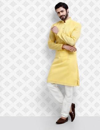 Simple yellow hue cotton fabric kurta suit