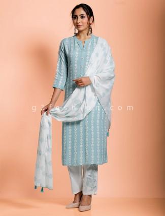 Sky blue cotton chinese neck pant set
