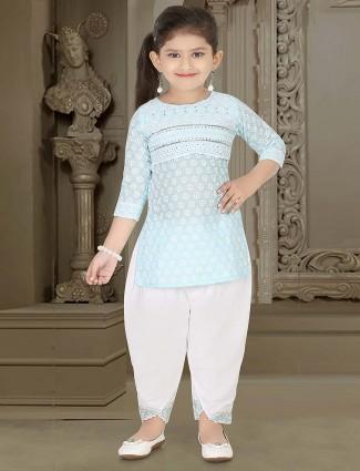 Sky blue cotton fabric dhoti suit