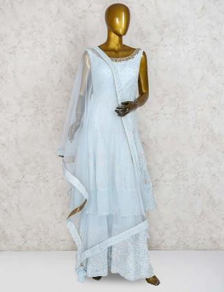 Sky blue cotton silk punjabi salwar suit