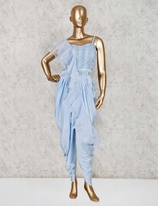 Sky blue designer satin dhoti style suit