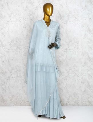 Sky blue festive georgette punjabi sharara suit