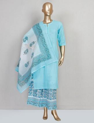 Sky blue festive wear cotton salwar suit