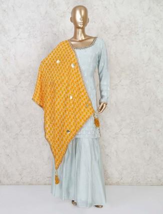 Sky blue festive wear palazzo suit in satin silk